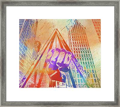 Colorful Detroit Fist Framed Print