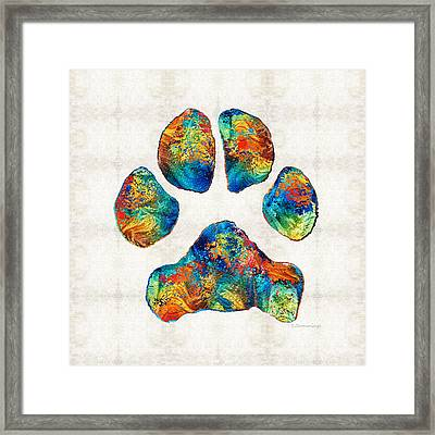 Colorful Dog Paw Print By Sharon Cummings Framed Print