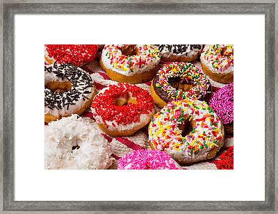 Colorful Donuts Framed Print by Garry Gay