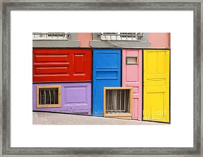 Colorful Doors Framed Print