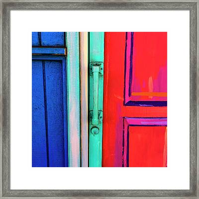 Colorful Doors Real And Otherwise Framed Print