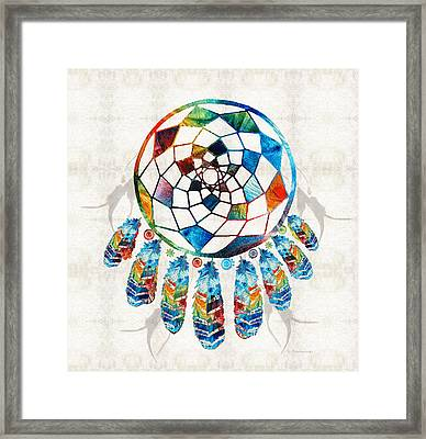 Colorful Dream Catcher By Sharon Cummings Framed Print by Sharon Cummings
