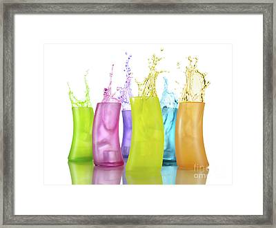 Colorful Drink Splashing From Glasses Framed Print by Oleksiy Maksymenko