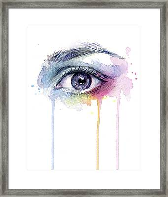 Colorful Dripping Eye Framed Print by Olga Shvartsur