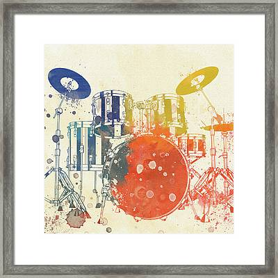 Colorful Drum Set Framed Print by Dan Sproul