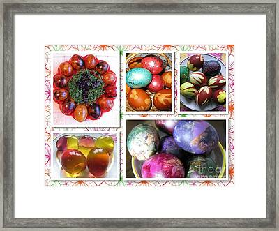 Framed Print featuring the photograph Colorful Easter Eggs Collage 07 by Ausra Huntington nee Paulauskaite