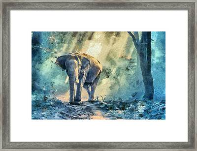 Colorful Elephant Art Painting Framed Print by Wall Art Prints