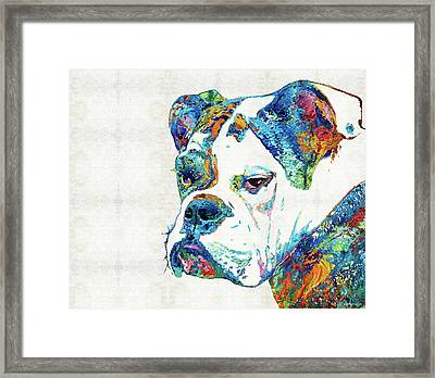 Colorful English Bulldog Art By Sharon Cummings Framed Print by Sharon Cummings