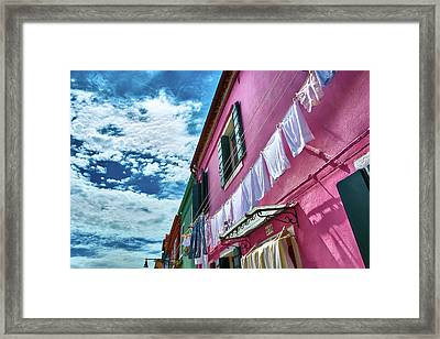 Colorful Facade With Laundry In Burano Framed Print