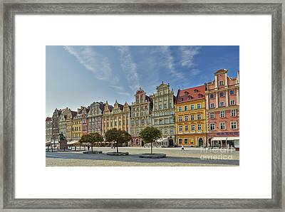 colorful facades on Market Square or Ryneck of Wroclaw Framed Print by Juergen Ritterbach