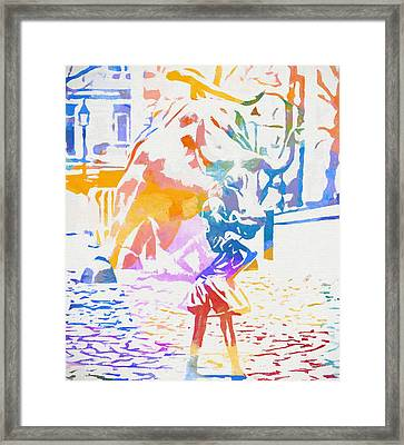 Framed Print featuring the painting Colorful Fearless Girl by Dan Sproul