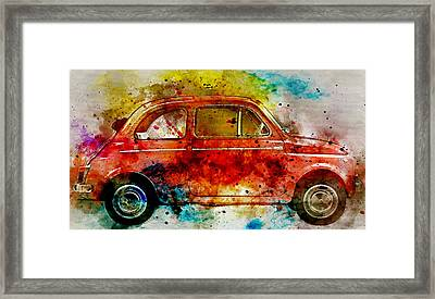 Colorful Fiat 500 -  No. 3 - By Diana Van Framed Print by Diana Van