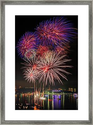 Colorful Fireworks On Pattaya City Framed Print