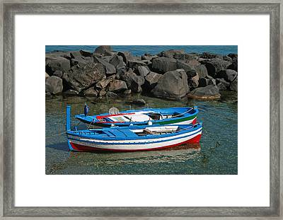 Colorful Fishing Boats Framed Print by Chuck Wedemeier