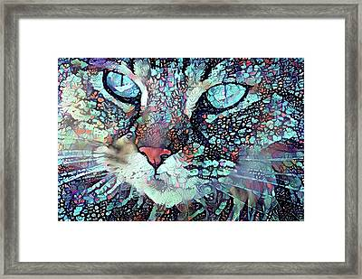 Colorful Flower Cat Art - A Cat Called Blue Framed Print