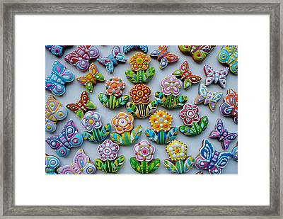 Colorful Flowers And Homemade Cookies Floral Composition Framed Print