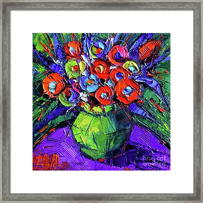 Colorful Flowers On Round Purple Table Framed Print