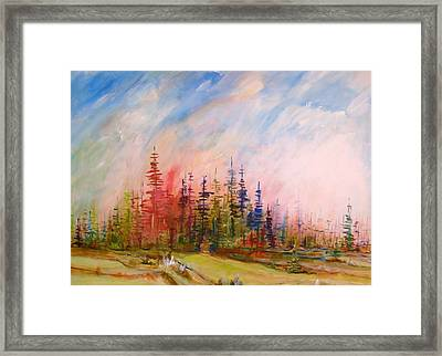 Colorful Forest Framed Print by Gunter Kreil