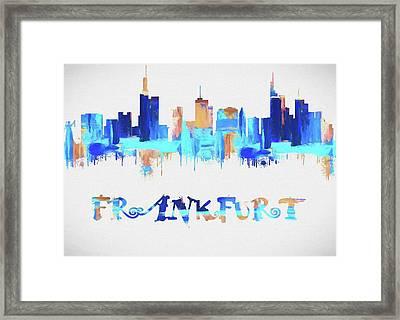 Colorful Frankfurt Skyline Silhouette Framed Print by Dan Sproul