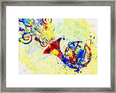 Colorful French Horn Framed Print