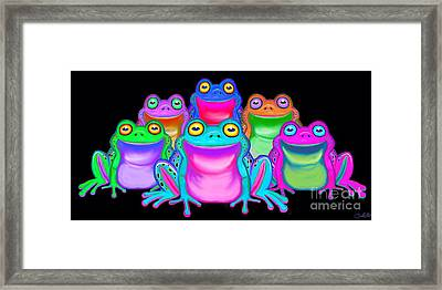 Framed Print featuring the painting Colorful Froggies by Nick Gustafson