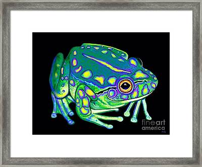Framed Print featuring the painting Colorful Froggy 2 by Nick Gustafson