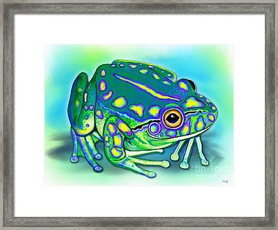 Framed Print featuring the painting Colorful Froggy by Nick Gustafson