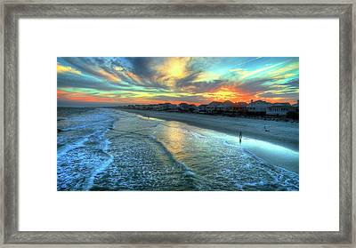 Colorful Garden City Sunset Framed Print by Robbie Bischoff