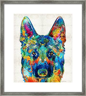 Colorful German Shepherd Dog Art By Sharon Cummings Framed Print
