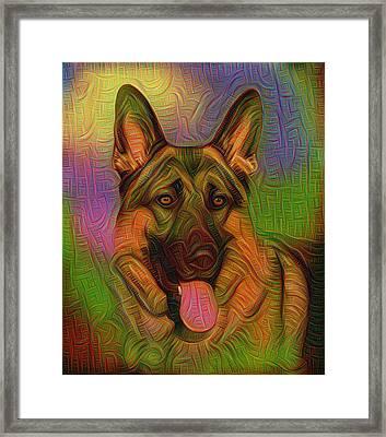 Colorful German Shepherd Framed Print