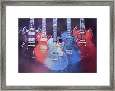 Colorful Gibson Guitars Framed Print by Dan Sproul