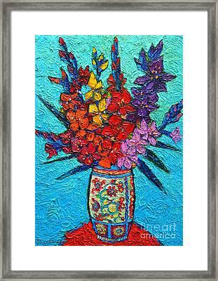 Colorful Gladiolus Framed Print by Ana Maria Edulescu