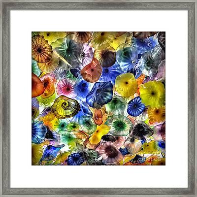 Colorful Glass Ceiling In Bellagio Lobby Framed Print by Walt Foegelle