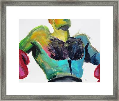 Colorful Hairy Boxer Framed Print