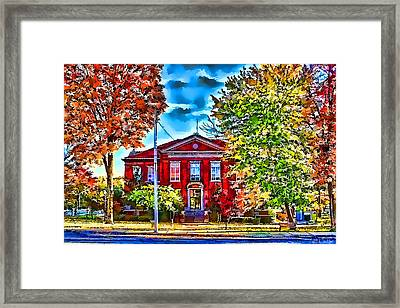 Colorful Harrison Courthouse Framed Print by Kathy Tarochione