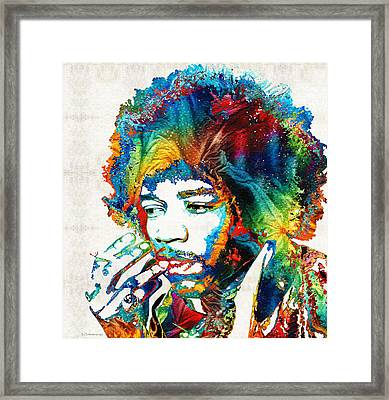 Colorful Haze - Jimi Hendrix Tribute Framed Print by Sharon Cummings