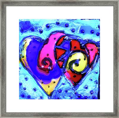 Framed Print featuring the painting Colorful Hearts Equals Crazy Hearts by Genevieve Esson