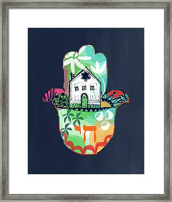 Framed Print featuring the mixed media Colorful Home Hamsa- Art By Linda Woods by Linda Woods