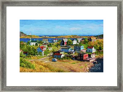 Colorful Homes In Trinity, Newfoundland - Painterly Framed Print by Les Palenik