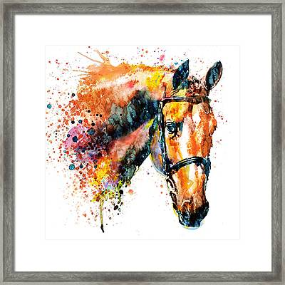 Framed Print featuring the mixed media Colorful Horse Head by Marian Voicu