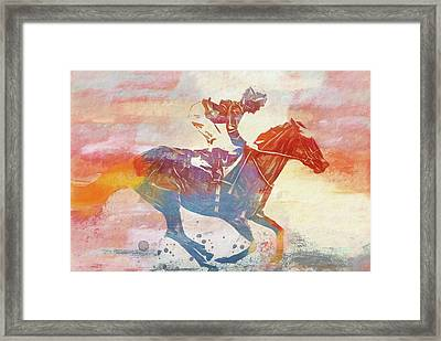 Colorful Horse Race Framed Print by Dan Sproul