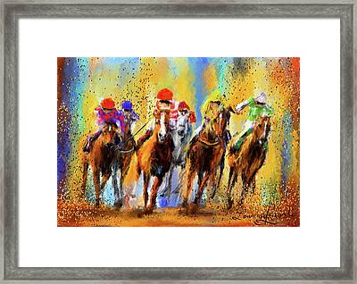 Colorful Horse Racing Impressionist Paintings Framed Print by Lourry Legarde