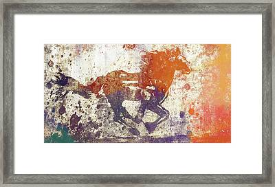 Colorful Horse Running Grunge Framed Print by Dan Sproul