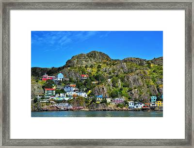 Colorful Houses In Newfoundland Framed Print by Steve Hurt