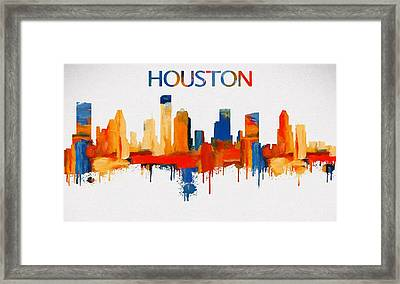 Colorful Houston Skyline Silhouette Framed Print