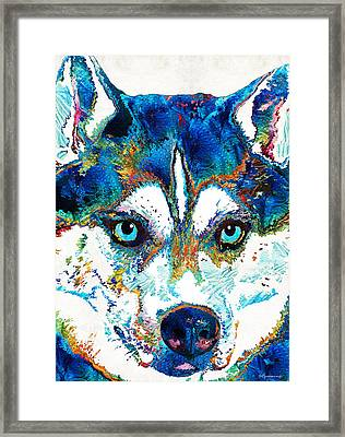 Colorful Husky Dog Art By Sharon Cummings Framed Print