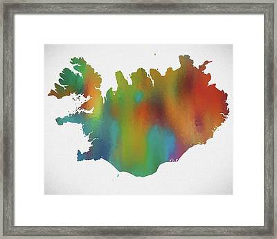Colorful Iceland Map Framed Print by Dan Sproul
