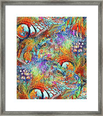 Colorful Iguana Art - Tropical Two - Sharon Cummings Framed Print by Sharon Cummings