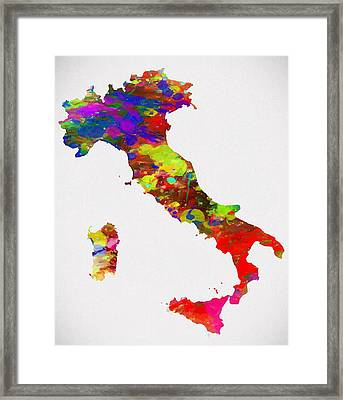 Colorful Italy Map Framed Print by Dan Sproul