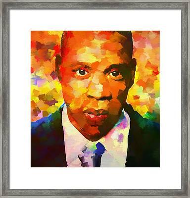 Colorful Jay Z Palette Knife Framed Print by Dan Sproul